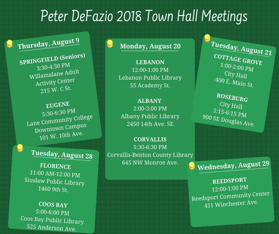 Rep  DeFazio Announces Summer 2018 Town Hall Meeting