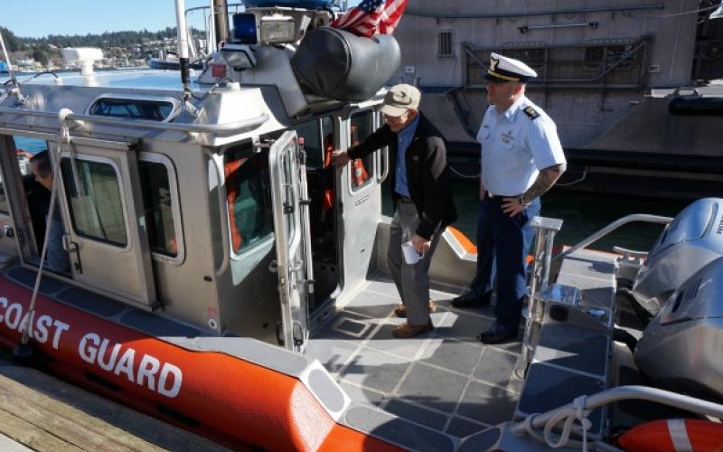 Rep. DeFazio on Coast Guard boat